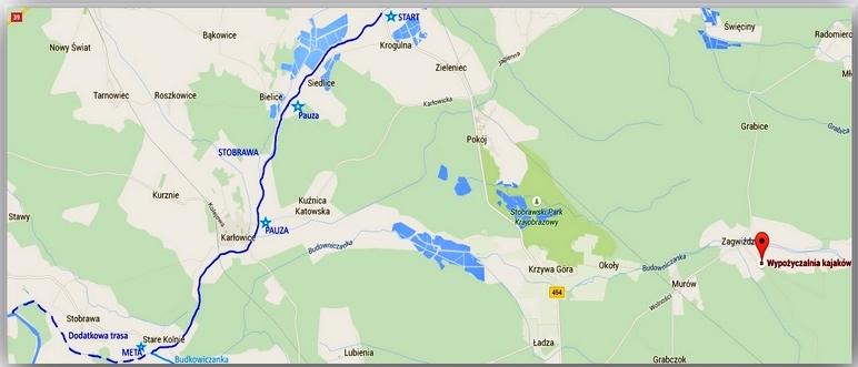 Mapa spływu Stobrawy Krogulno - Stere Kolnie