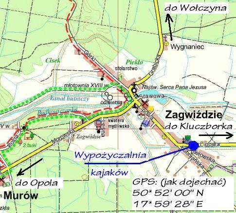 Mapa wypożyczalni kajaków w Zagwiździu
